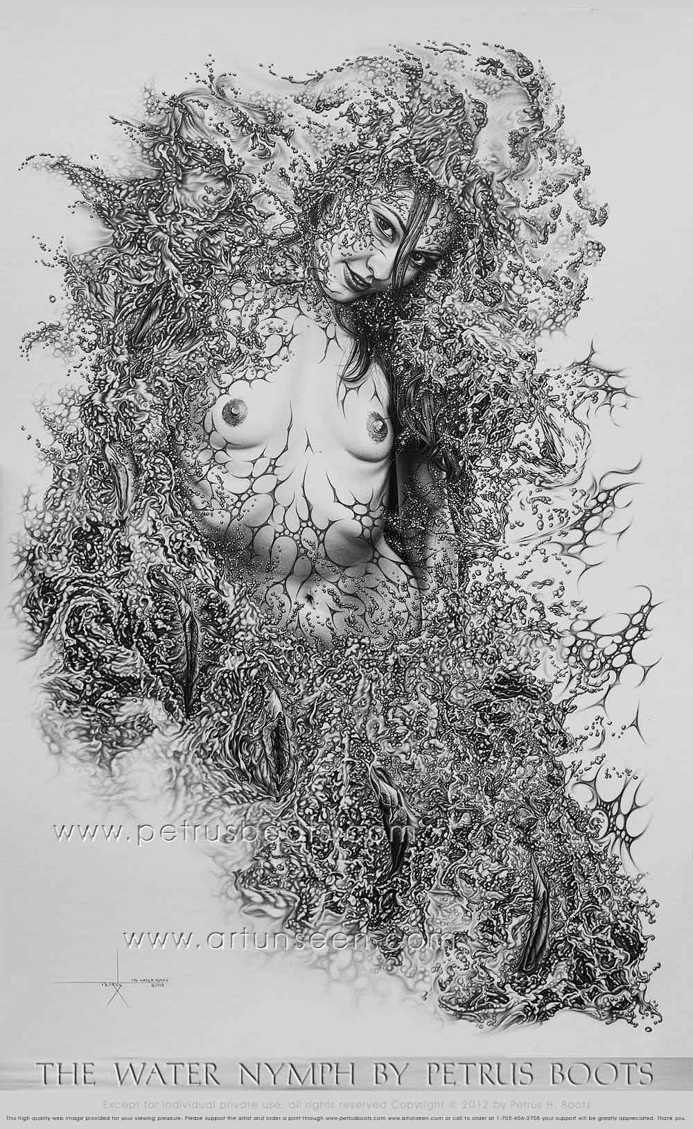 The Water Nymph by Petrus Boots ~ Original Pencil Drawing ...